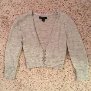 Silver cropped Express sweater